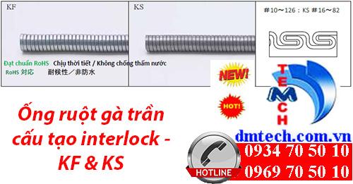 Ống ruột gà trần cấu tạo interlock - KF & KS