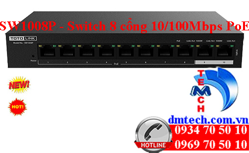 SW1008P - 8 Ports 10/100Mbps PoE Powered Switch
