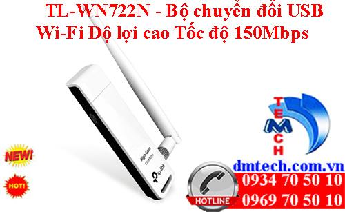 TL-WN722N - Bộ chuyển đổi USB Wi-Fi Độ lợi cao Tốc độ 150Mbps